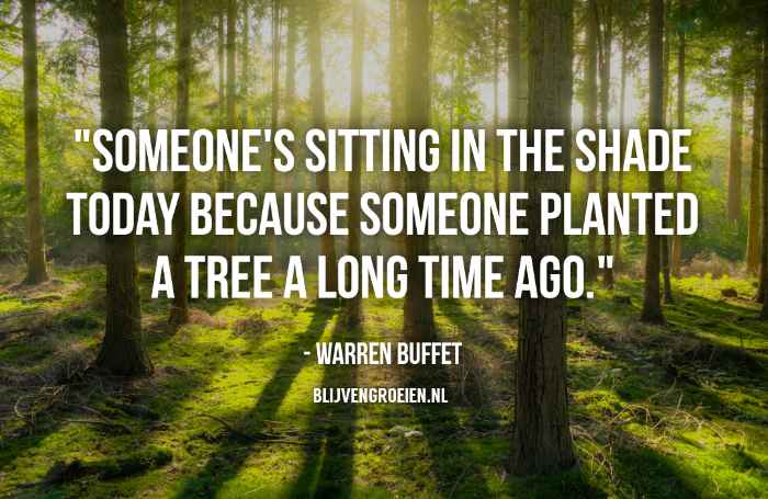 Quote Warren Buffett Someone is sitting in the shade today because someone planted a tree a long time ago. Warren Buffettt